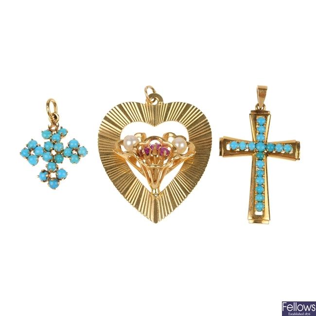 A selection of three pendants.