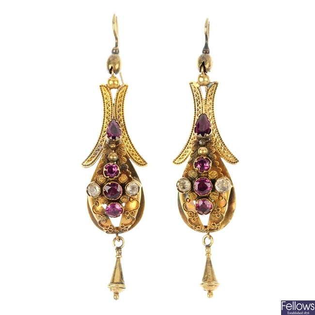 A pair of late Victorian gold paste ear pendants, circa 1880.