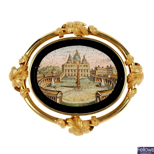 A late 19th century gold micro mosaic brooch.