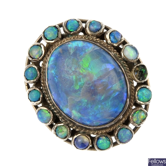 An opal cluster ring.
