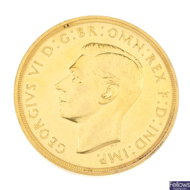 George VI, gold proof Five-Pounds 1937.