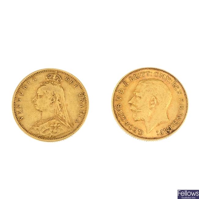 Half-Sovereigns (2) 1892, 1913.