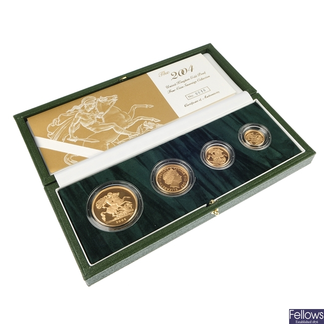 Elizabeth II, Gold Proof Four-Coin Sovereign Collection 2004.