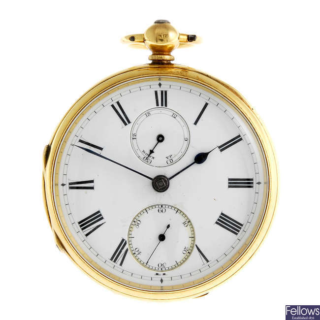 An open face pocket watch by R. Haswell & Sons.