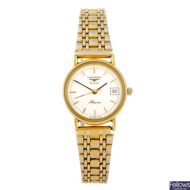 LONGINES - a lady's Presence bracelet watch and two 9ct gold bracelet watches.