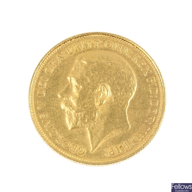 George V, gold Two-Pounds 1911.