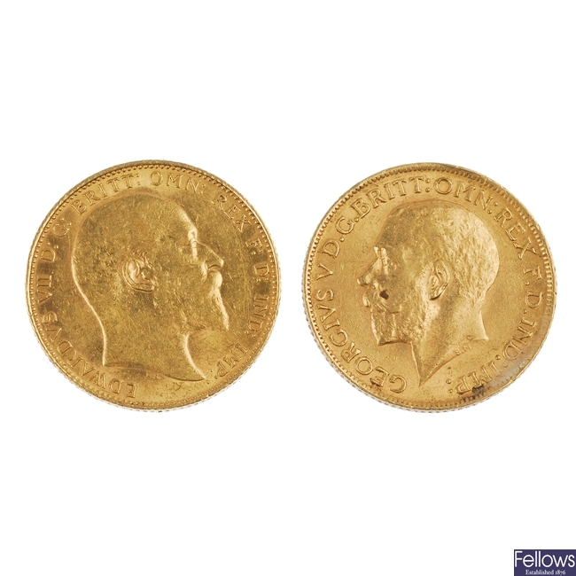Sovereigns (2) 1909, 1912.