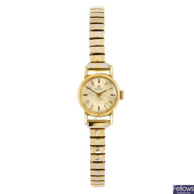 OMEGA - a lady's bracelet watch with a lady's Frey bracelet watch.