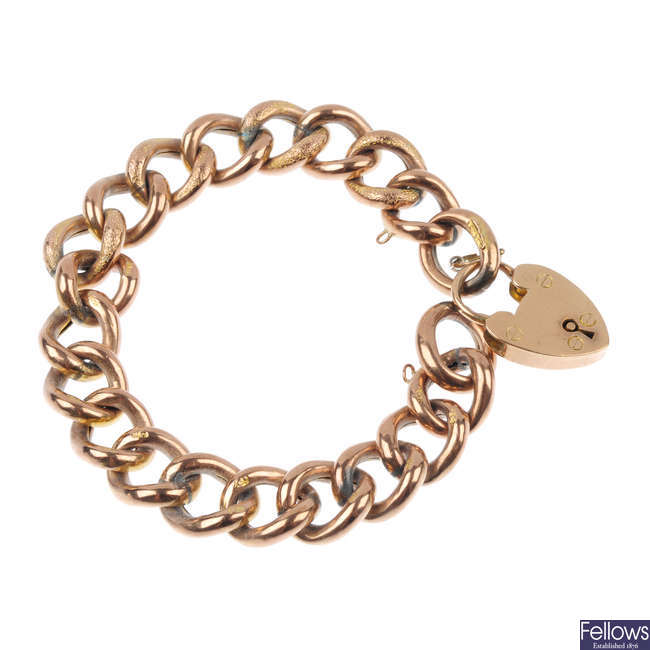 A late 19th century 9ct gold bracelet.