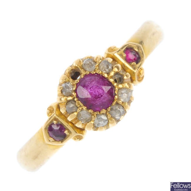 A late Victorian 18ct gold ruby and diamond ring.