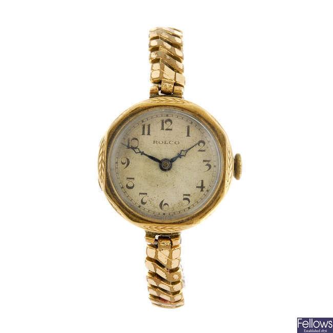 ROLCO - a 9ct yellow gold bracelet watch. Together with a gentleman's Bifora wrist watch.