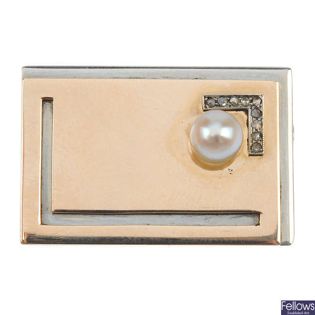 A mid 20th century cultured pearl and diamond brooch.