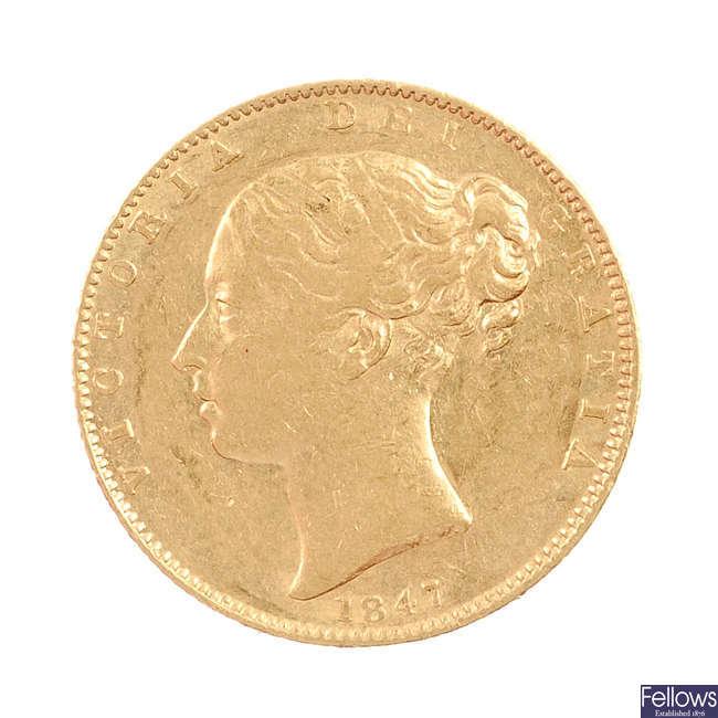 Victoria, Sovereign 1847, Shield rev.