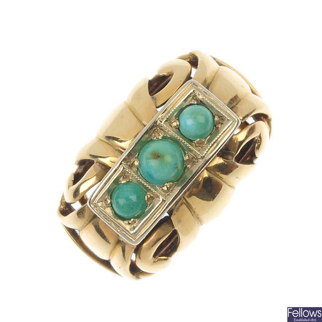 A mid 20th century 14ct gold turquoise three-stone ring.