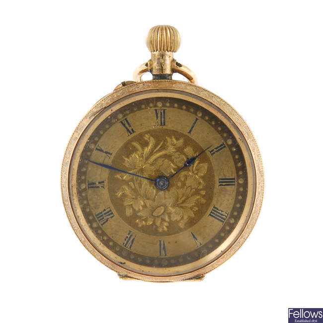 An open face pocket watch with two open face pocket watches.