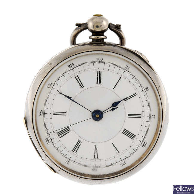 An open face centre seconds pocket watch by J Greatbach together with two watch keys.