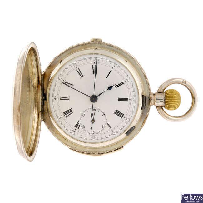 A full hunter chronograph quarter repeater.