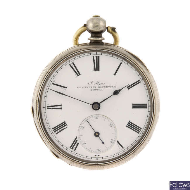 An open face pocket watch by J. Myers.