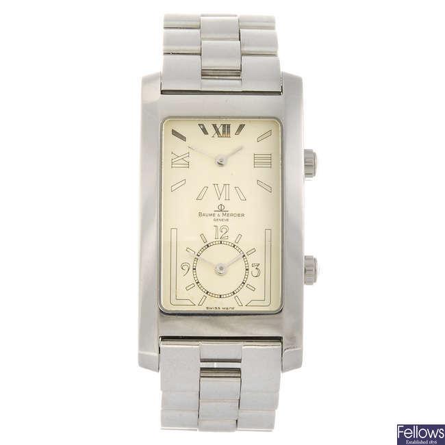 BAUME & MERCIER - a gentleman's Hampton Dual Time bracelet watch.
