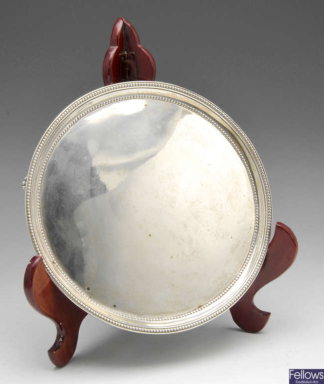 A George III small silver salver.