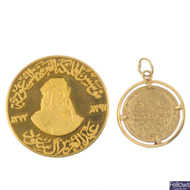 Saudi Arabia, Ibn Saud, gold medal &  a Turkish gold 50-Kurush.