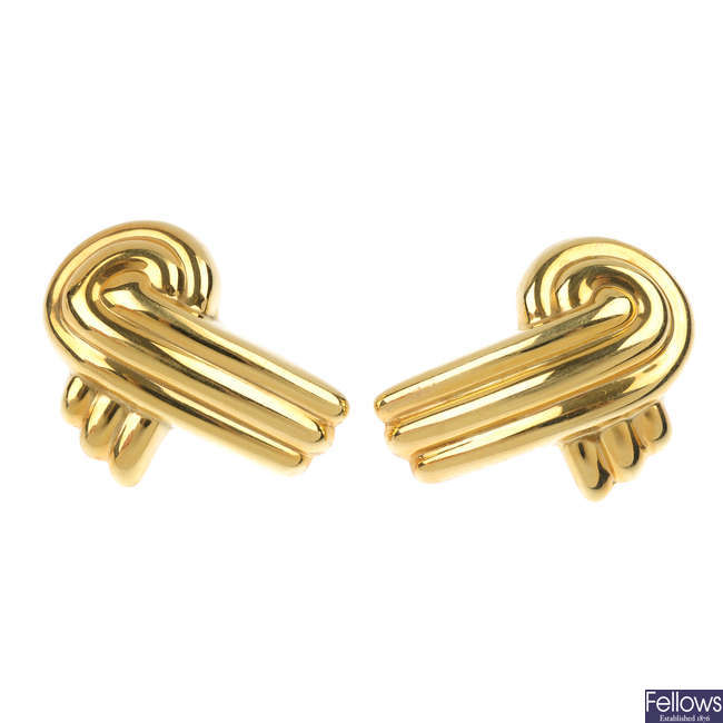 Three pairs of 9ct gold earrings.