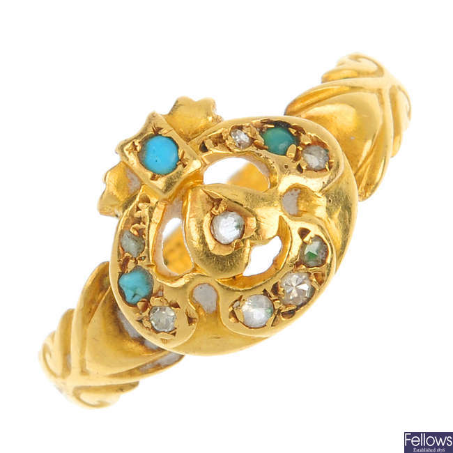 An Edwardian 18ct gold diamond and turquoise ring.