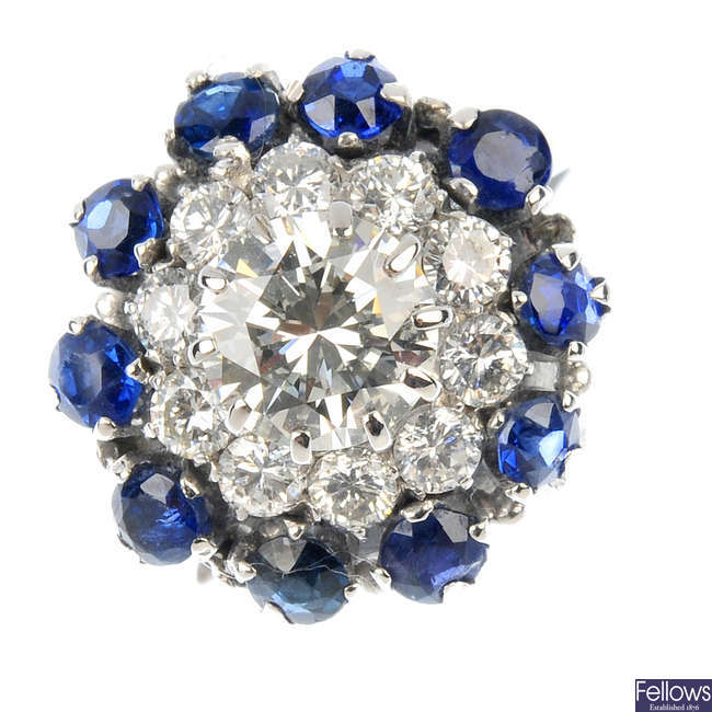 A diamond and sapphire cluster ring.