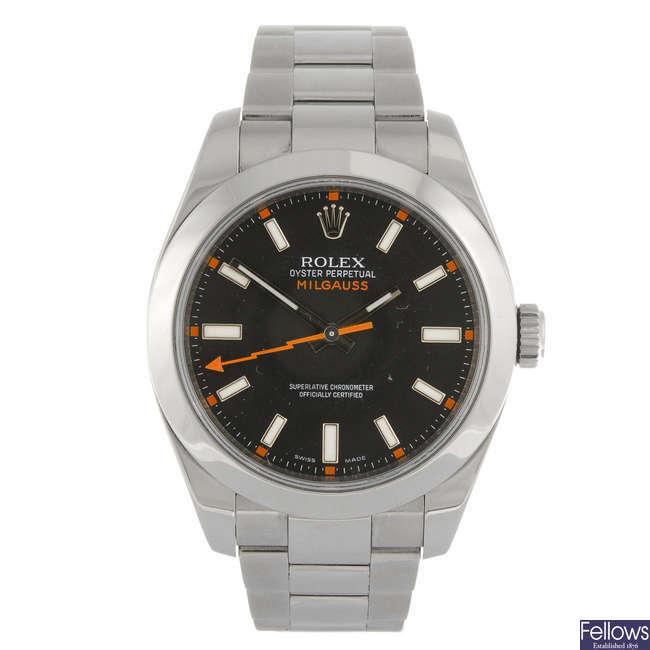 ROLEX - a gentleman's Oyster Perpetual Milgauss bracelet watch.