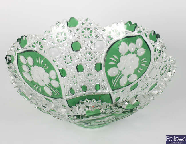 A Meissen 'emerald' green-flashed cut glass bowl.