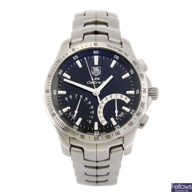 TAG HEUER - a gentleman's Link Calibre S chronograph bracelet watch.