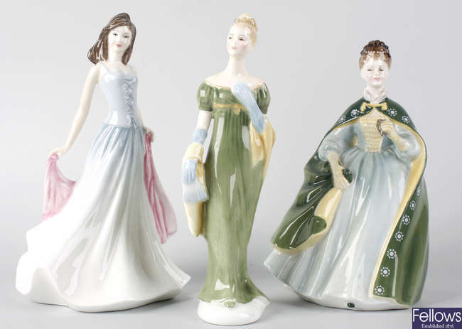 Seven Royal Doulton figures, plus two small Coalport figures