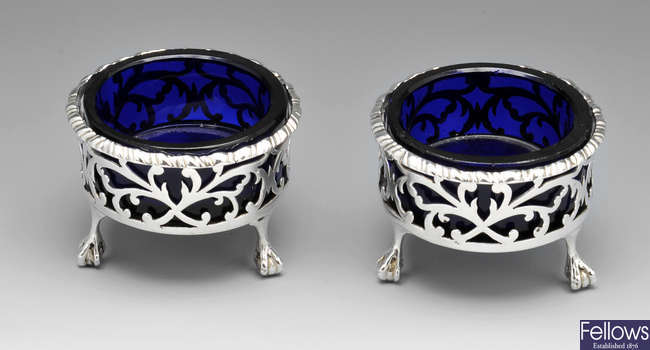 A pair of Victorian silver open salts.