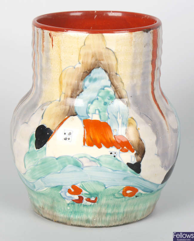 A Clarice Cliff (Newport Pottery) 'Forest Glen' pattern vase