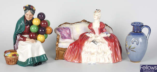 Two Royal doulton bone china figures and a small Royal Doulton stonware jug