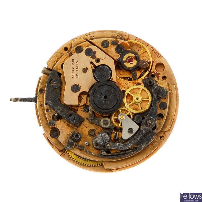 A gentleman's Omega chronograph watch movement with dial.