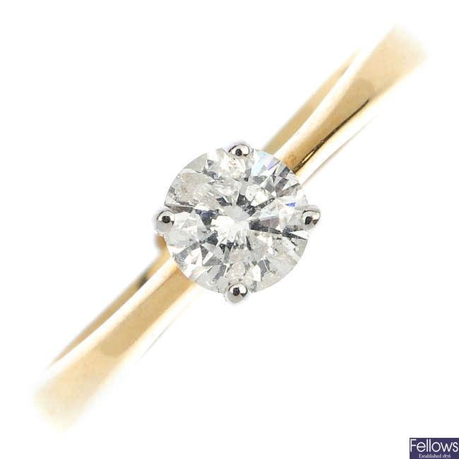 A 9ct gold diamond single-stone ring.