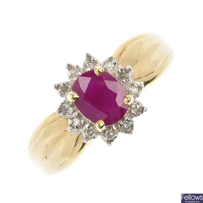 A ruby and diamond cluster ring.