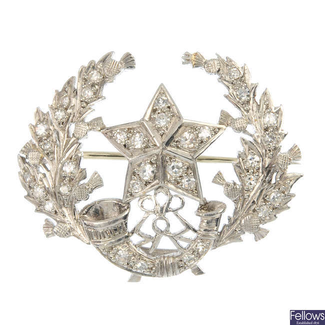 A diamond Regimental brooch, for the Cameronians.