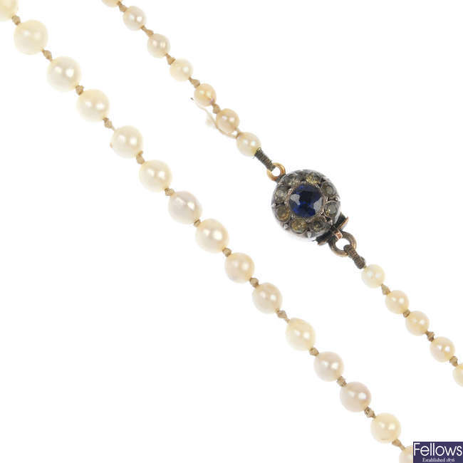 A cultured pearl single-strand necklace, with paste clasp.