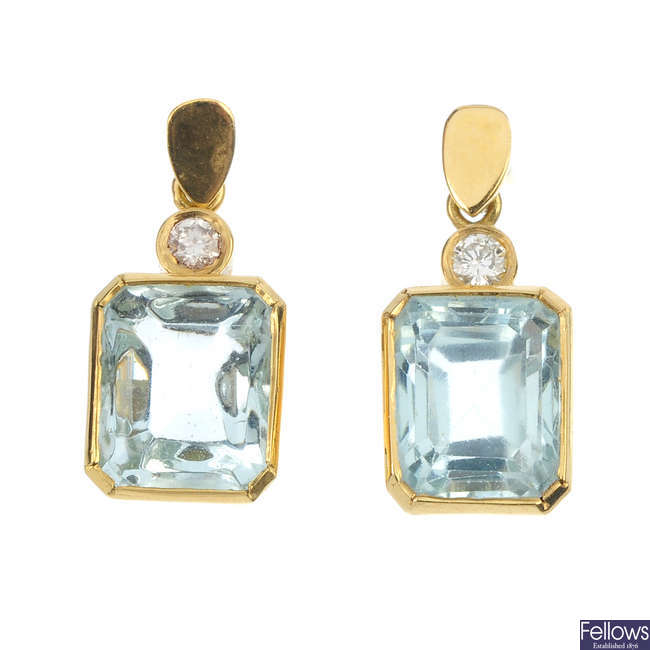 A pair of 18ct gold aquamarine and diamond ear pendants.