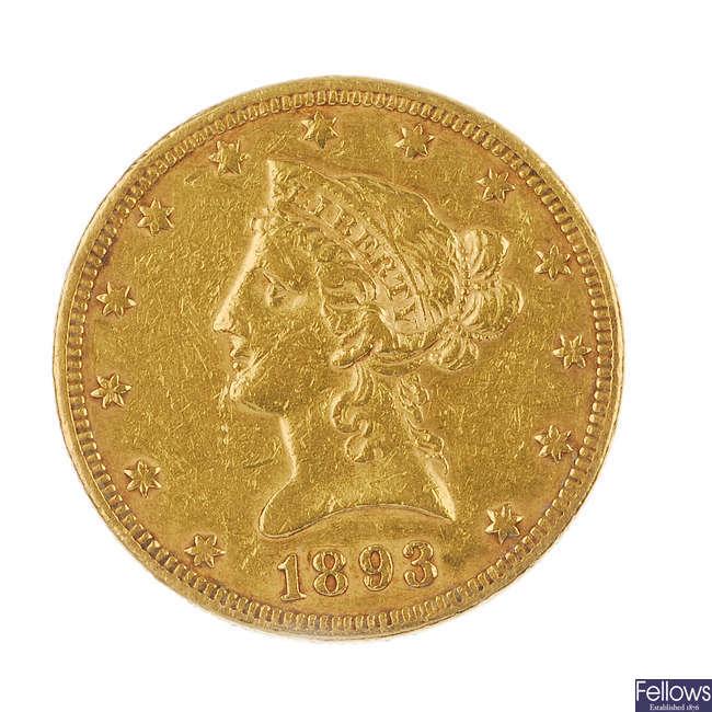 USA, Liberty 10-Dollar 1893.
