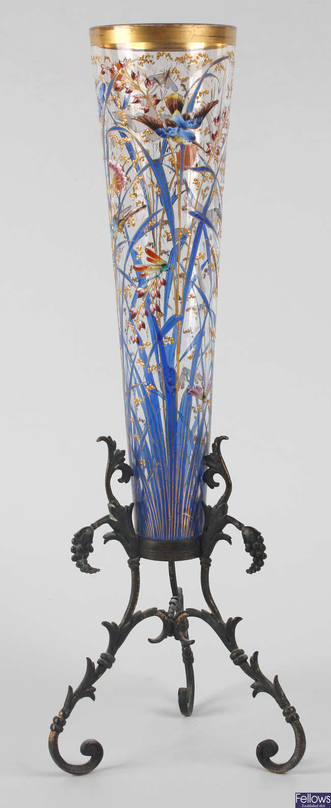 A Moser glass table centre vase