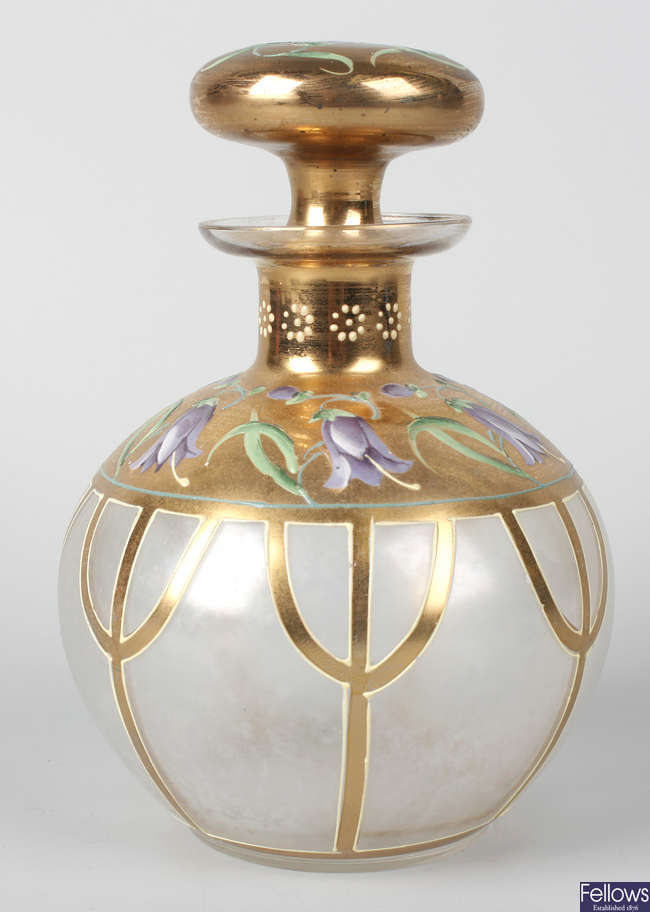 A Moser glass perfume bottle