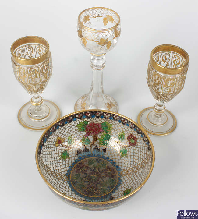 A group of small Moser liqueur glasses