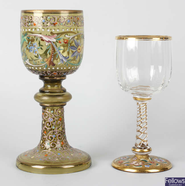 Two Moser glass goblets