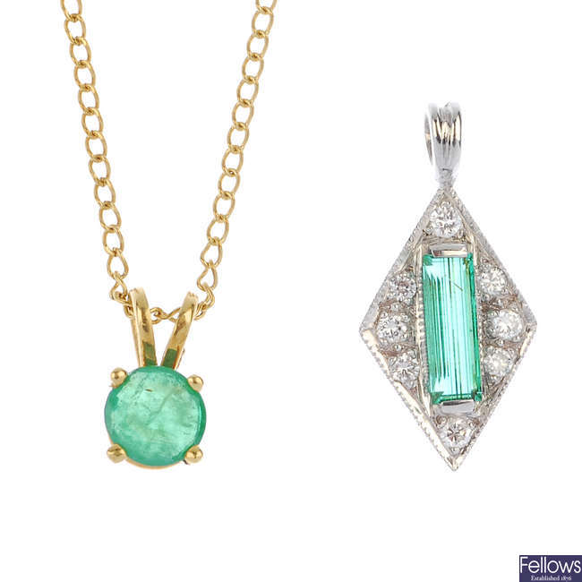 An emerald and diamond pendant and an emerald pendant and chain