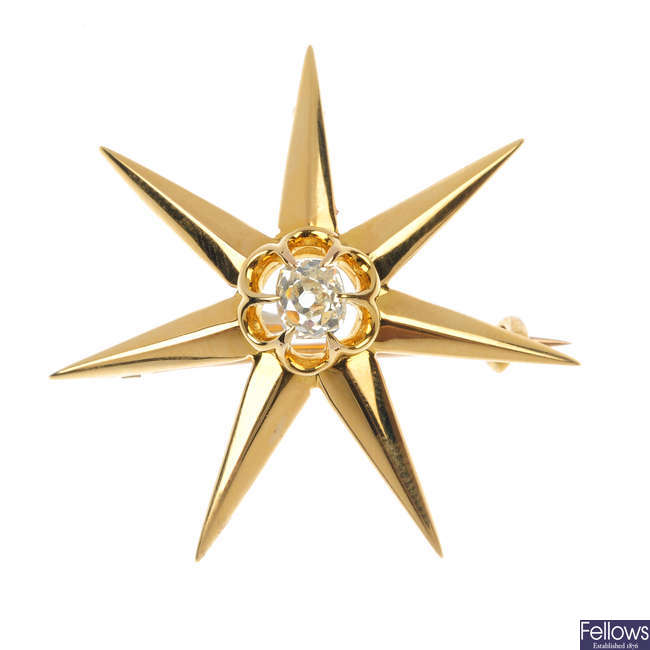 An early 20th century 18ct gold diamond star brooch.