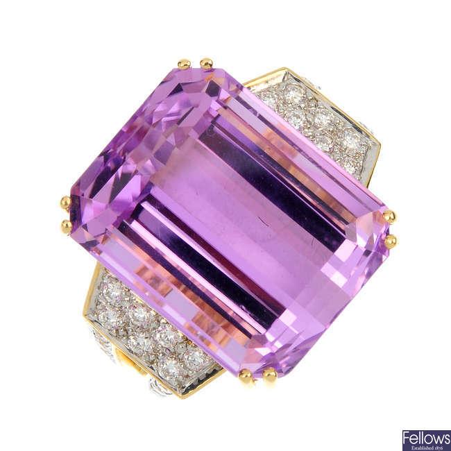 An 18ct gold kunzite and diamond ring.