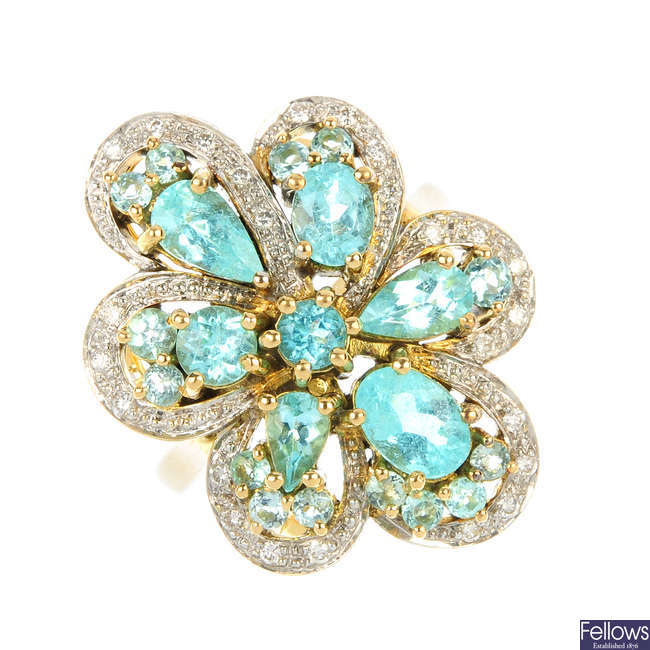 An 18ct gold apatite and diamond floral cluster ring.